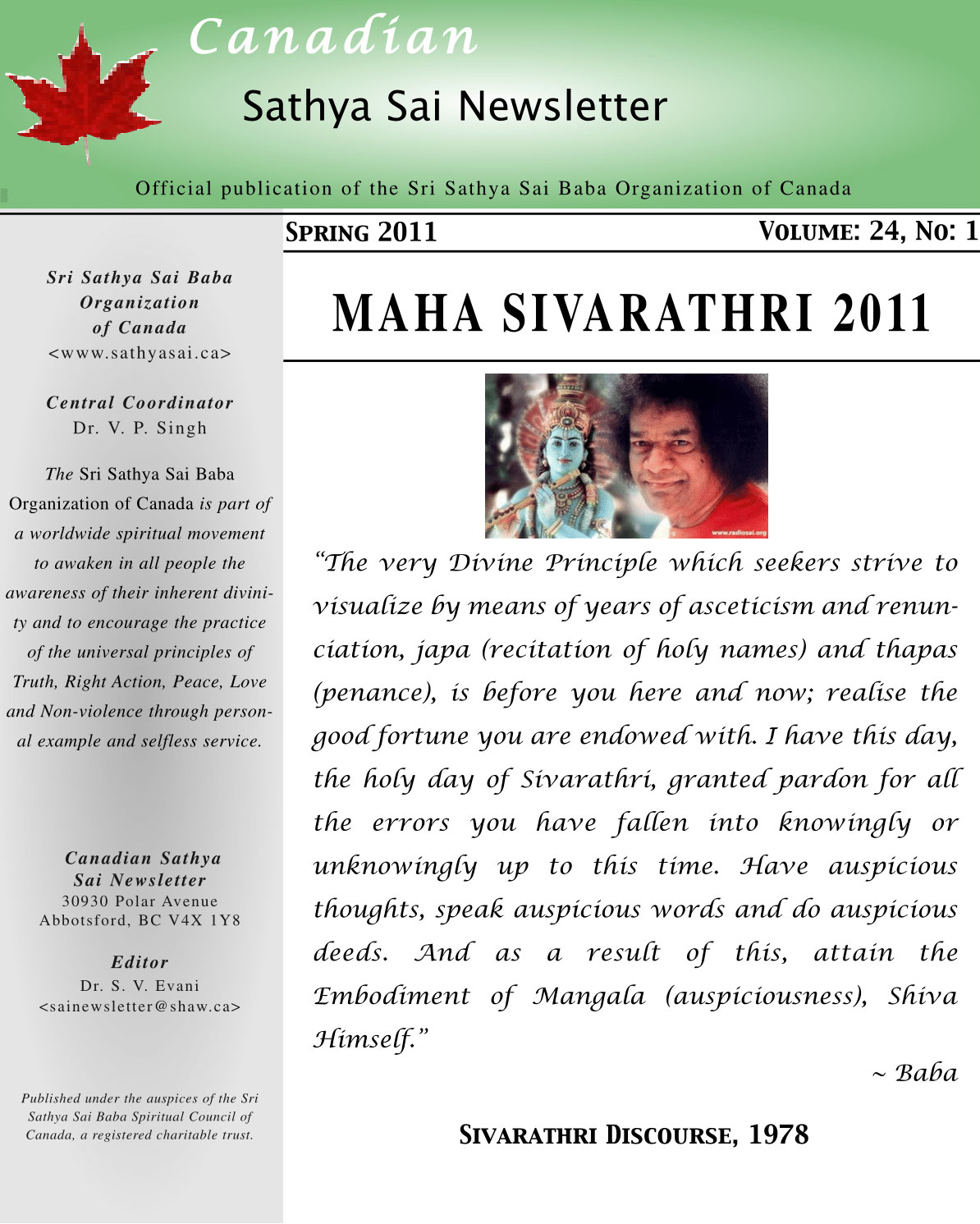 The Canadian Sathya Sai Magazine - Spring 2011