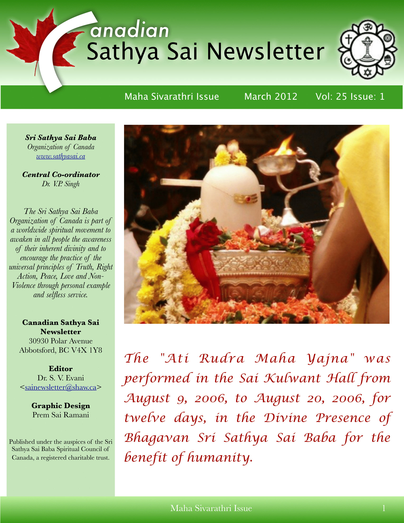 The Canadian Sathya Sai Magazine - Spring 2012