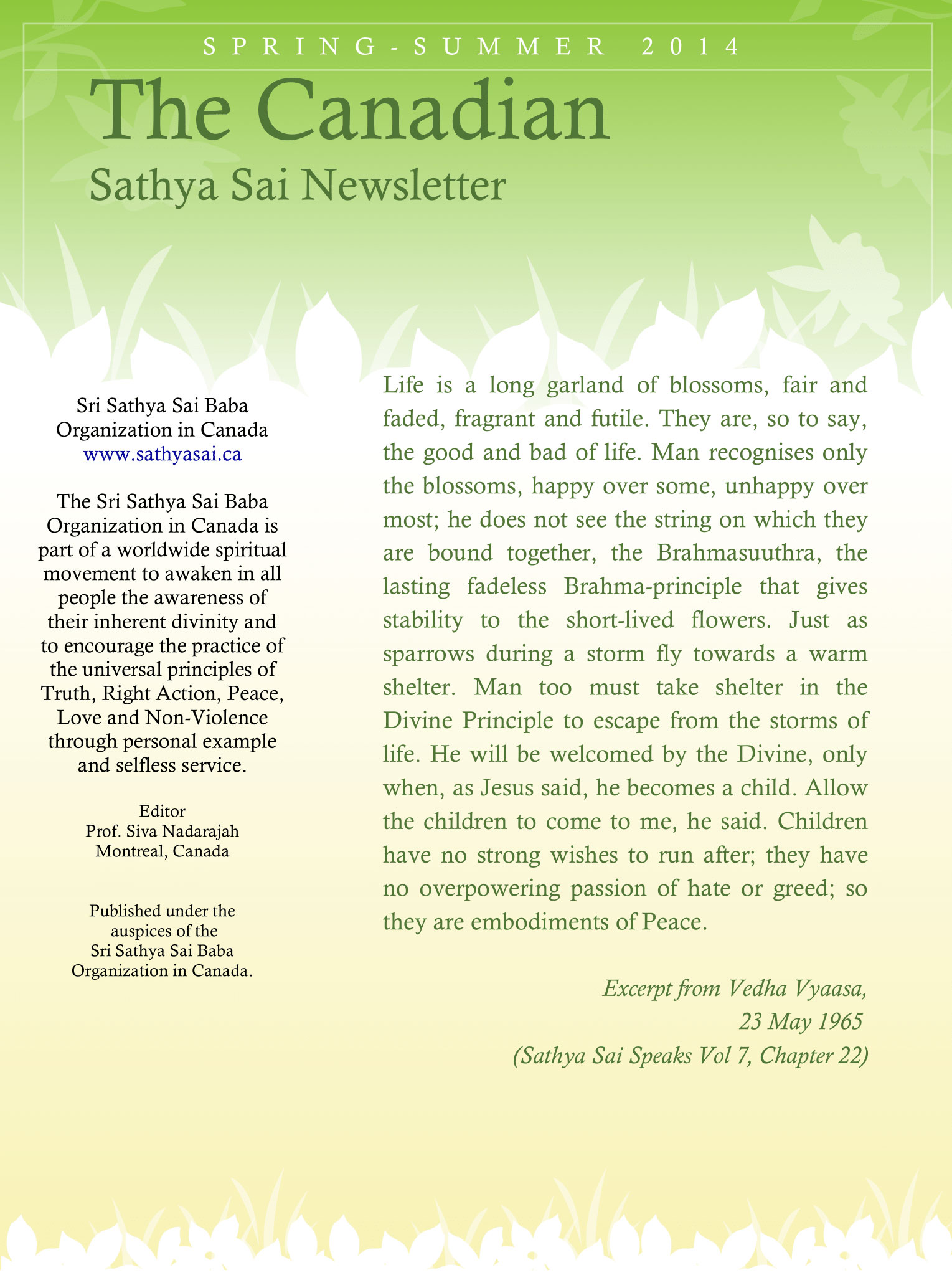 The Canadian Sathya Sai Magazine - Spring-Summer 2014