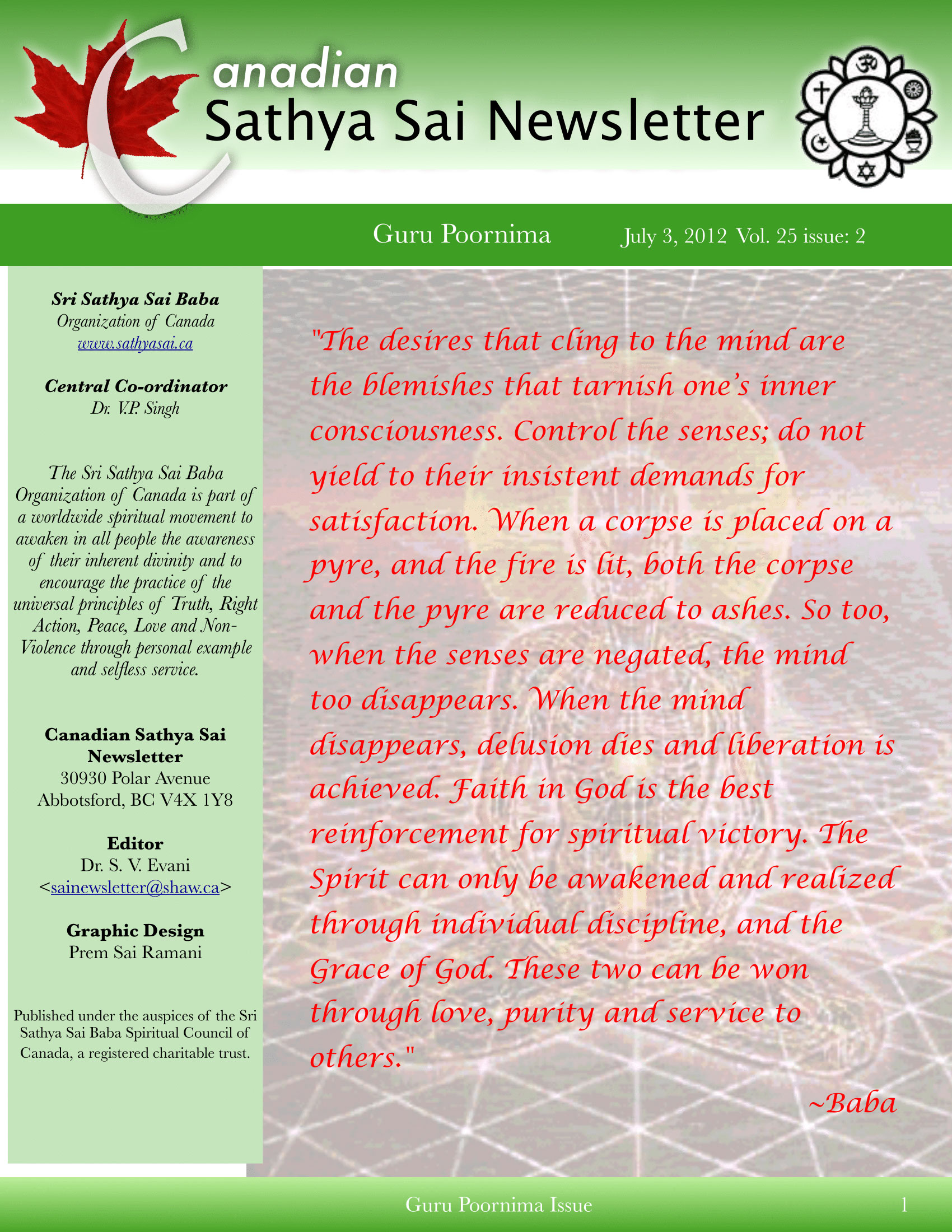 The Canadian Sathya Sai Magazine - Summer 2012