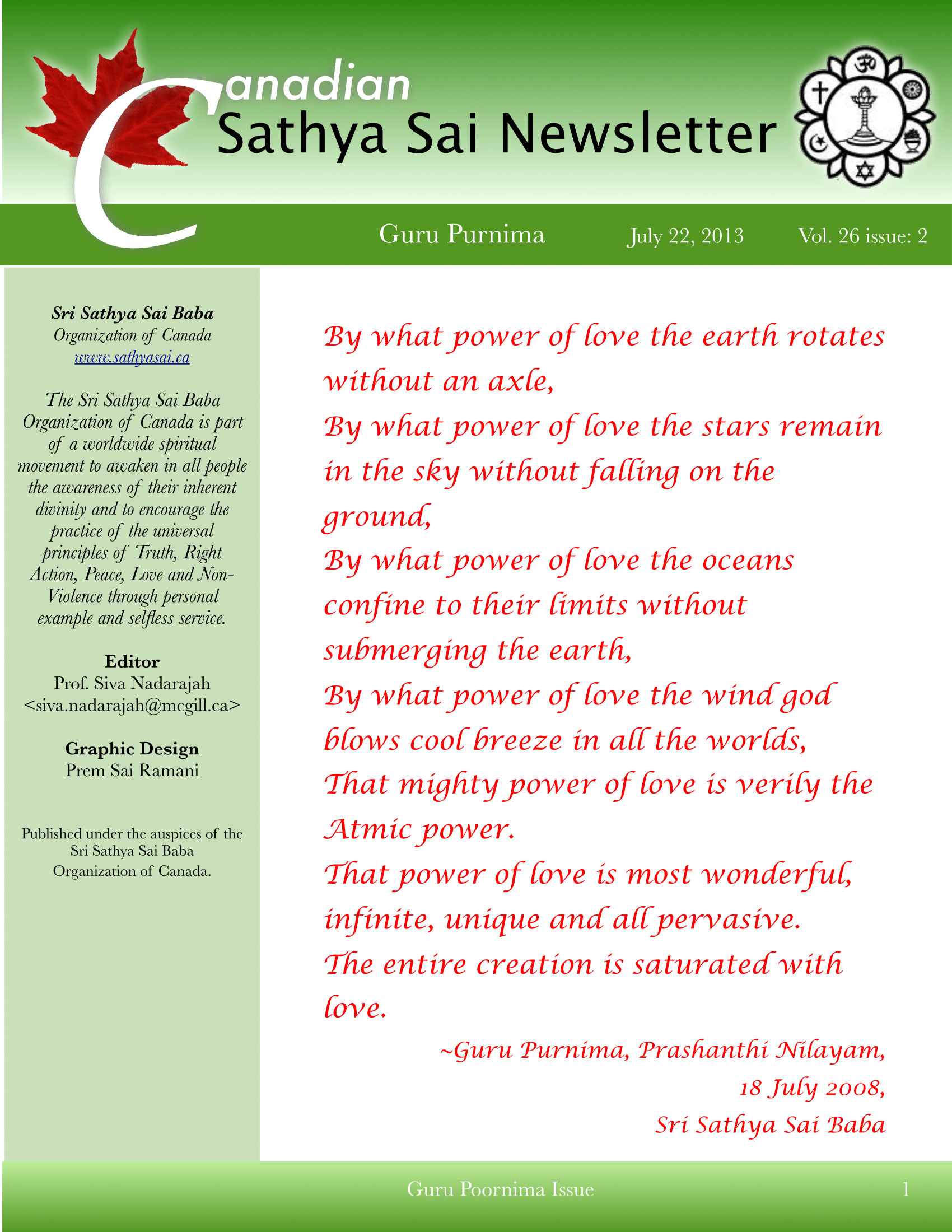 The Canadian Sathya Sai Magazine - Summer 2013