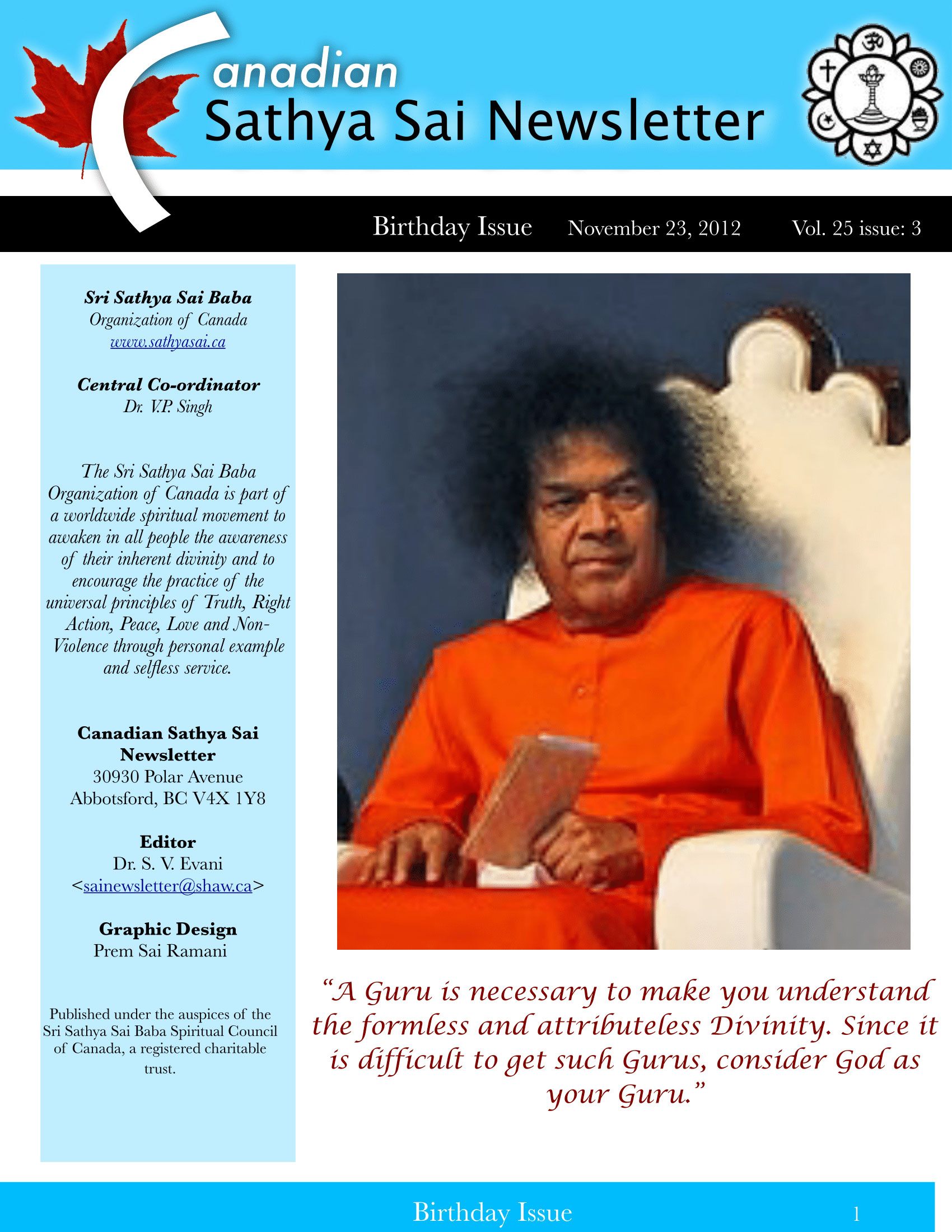 The Canadian Sathya Sai Magazine - Winter 2012