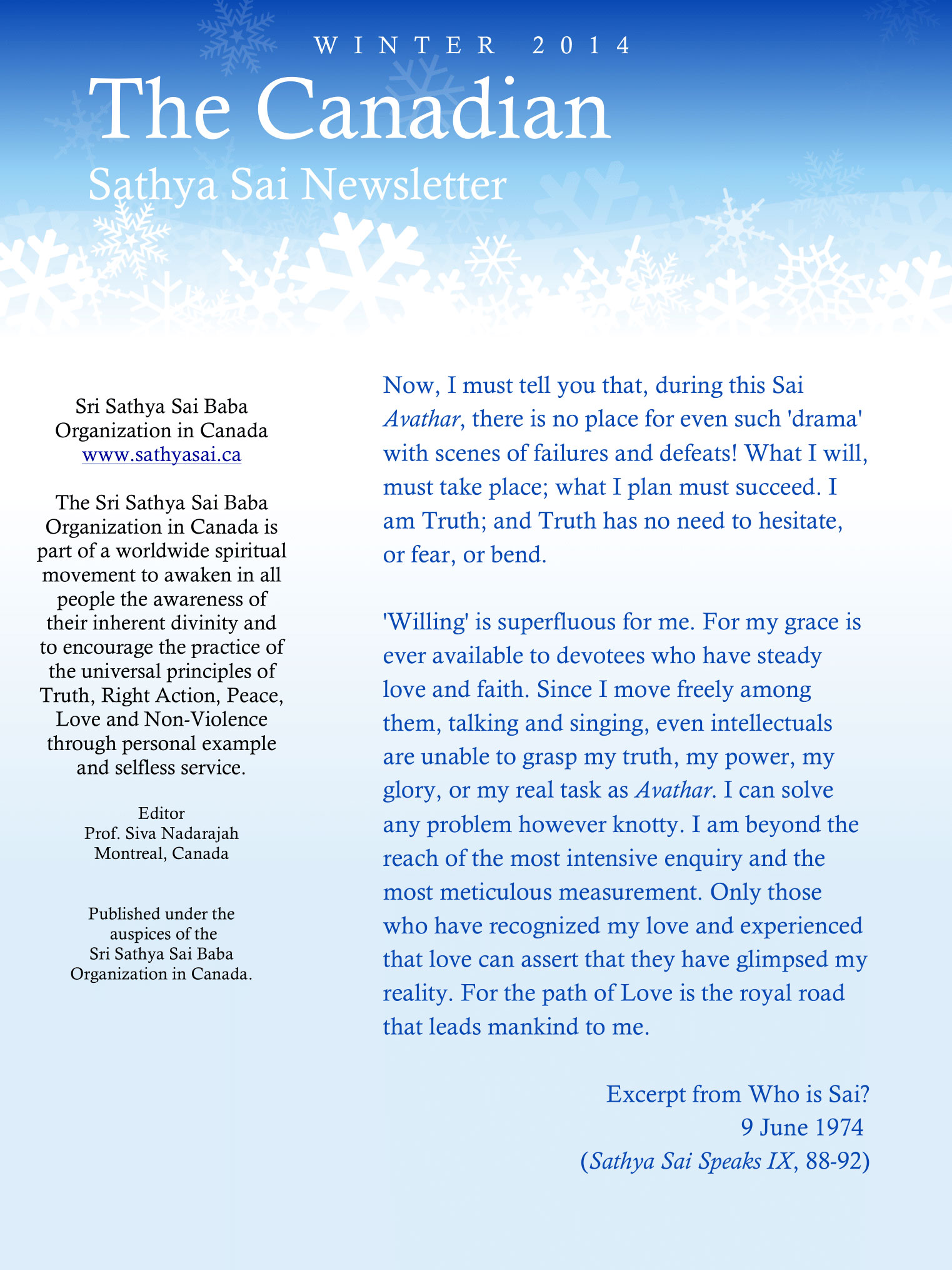 The Canadian Sathya Sai Magazine - Winter 2014