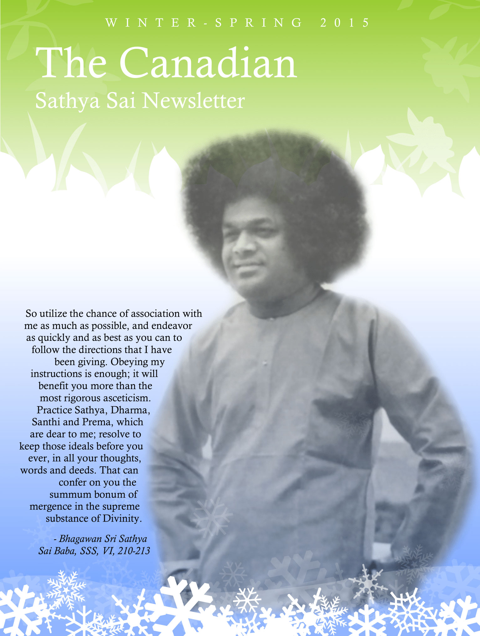The Canadian Sathya Sai Magazine - Winter-Spring 2015